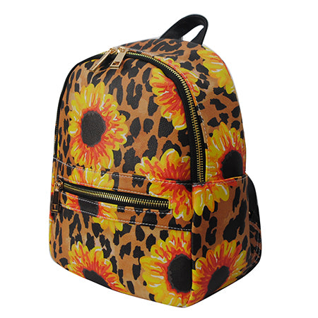 Leopard Sunflower NGIL Faux Leather Mini Backpack