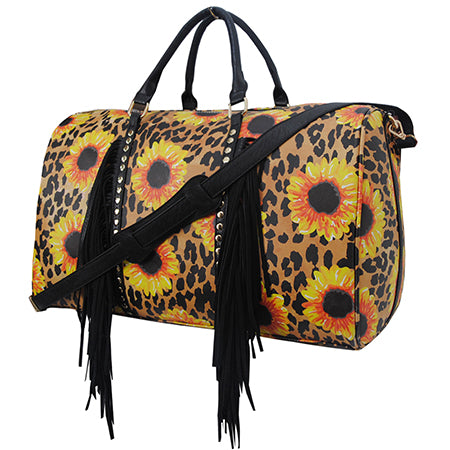 Leopard Sunflower NGIL Faux Leather Duffle Bag