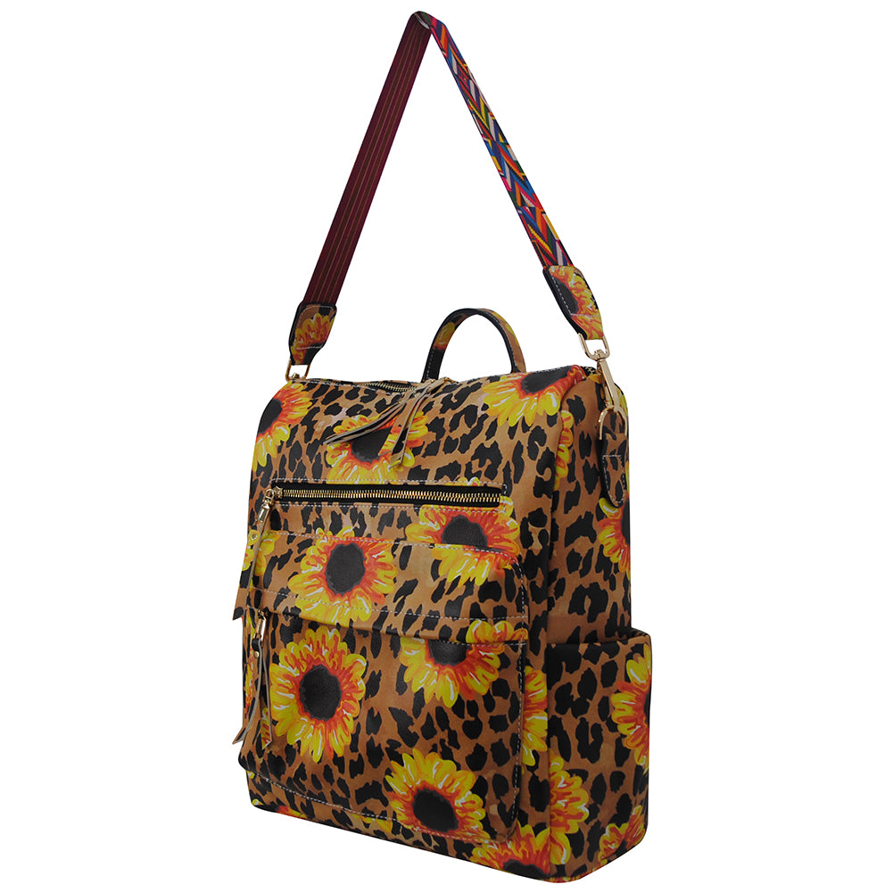 Leopard Sunflower Faux Leather NGIL Over the Shoulder Backpack