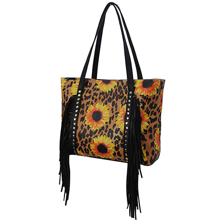 Leopard Sunflower Fringe Faux Leather Shoulder Bag