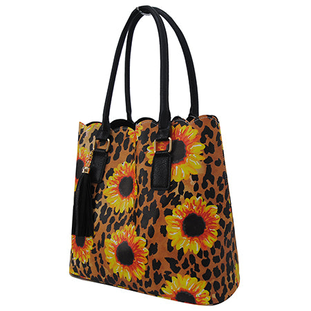 Leopard Sunflower NGIL Faux Leather Scallop Fashion Bag