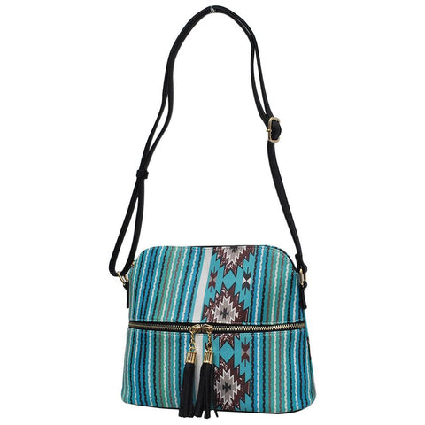 Aqua Serape NGIL Faux Leather Tassel Tote Crossbody