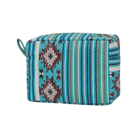 Aqua Serape NGIL Faux Leather Large Cosmetic Travel Pouch