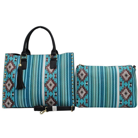 HOT! SALE! Southern Aqua Serape NGIL Leather 2-IN-1 Tassel Bag