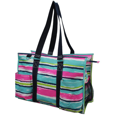 Rainbow Stripes NGIL Zippered Caddy Large Organizer Tote Bag