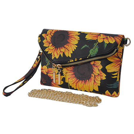 Sunflower NGIL Faux Leather Envelope Crossbody / Clutch