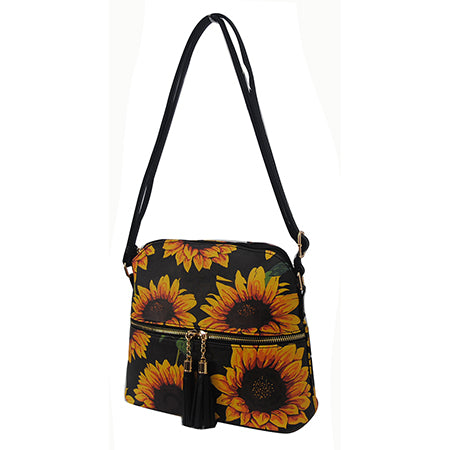 Sunflower NGIL Faux Leather Tassel Tote Crossbody