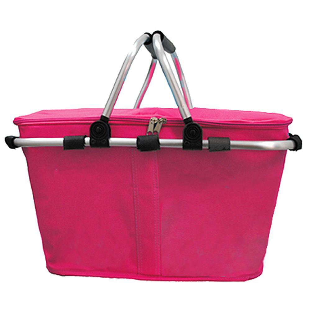 Insulated picnic basket set, market basket bag, hot pink storage basket, hot pink insulated basket, insulated collapsible picnic basket, picnic basket set, picnic basket for two, picnic basket for 4, baskets for 4, picnic basket gifts, monogram gift ideas, monogram gifts for women, personalized gifts for mom.