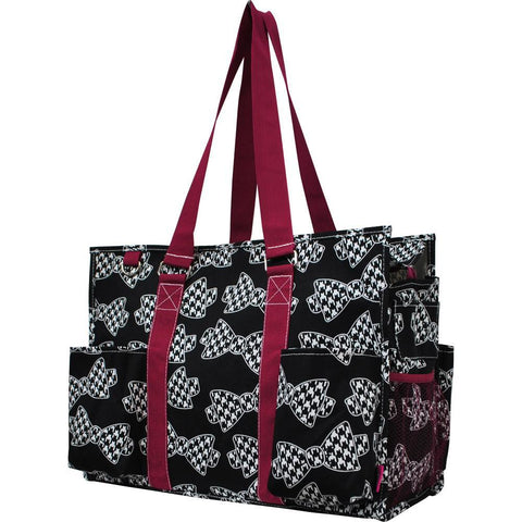 Houndstooth Bowtie NGIL Zippered Caddy Large Organizer Tote Bag