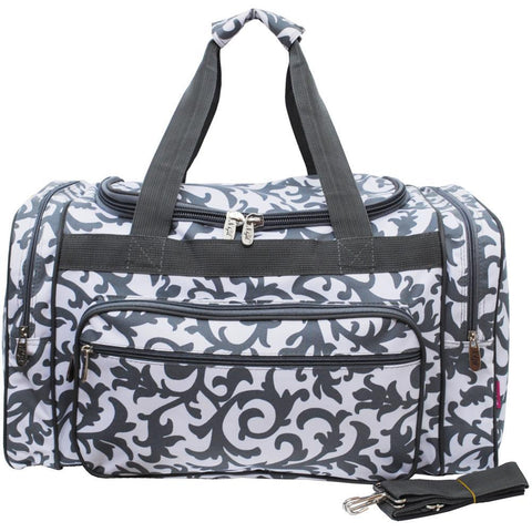 "Gray Damask NGIL Canvas 20"" Duffle Bag"