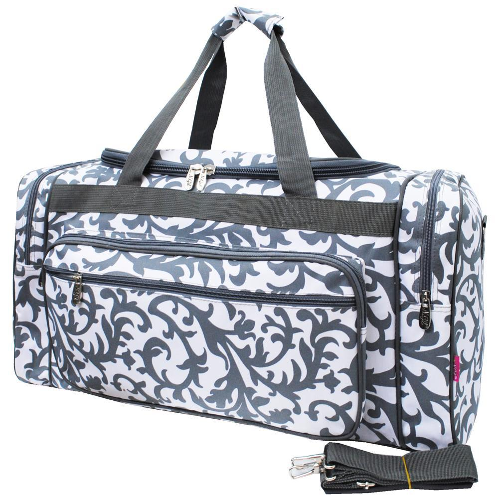 "Gray Damask NGIL Canvas 23"" Duffle Bag"