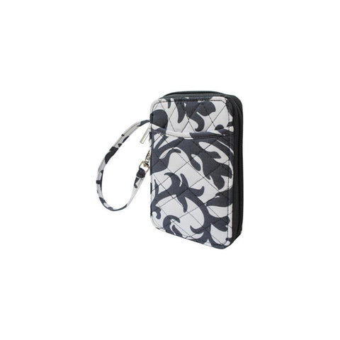 Grey Damask Print NGIL Quilted Wristlet Wallet