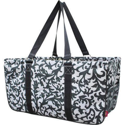 Monogram gift basket, NGIL, monogram tote bag canvas, personalized basket, teacher gift for classroom, gray damask print, damask storage basket, grey totes, gray damask tote bags