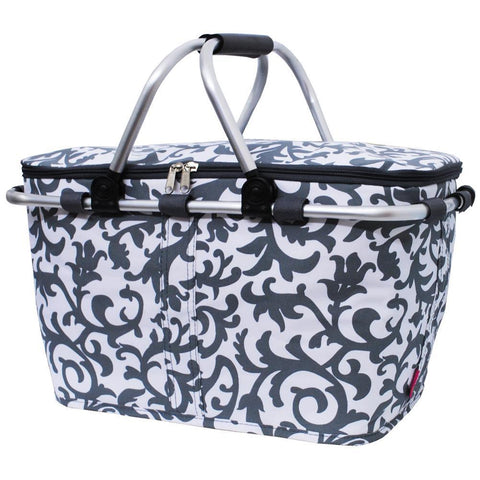 Gray Damask NGIL Insulated Market Basket
