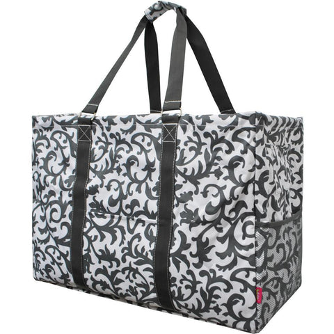 Grey Damask NGIL Mega Shopping Utility Tote Bag