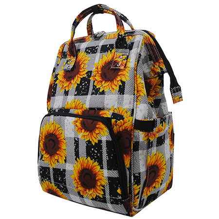Buffalo Plaid with Sunflower NGIL Diaper Bag/Travel Backpack