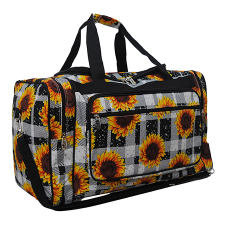 "Buffalo Plaid with Sunflower NGIL Canvas 23"" Duffle Bag"