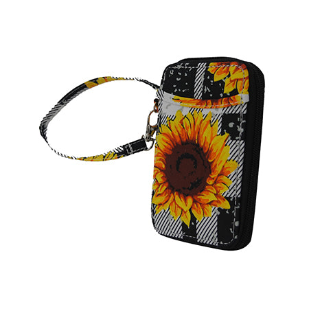 Buffalo Plaid with Sunflower NGIL Canvas Wristlet Wallet
