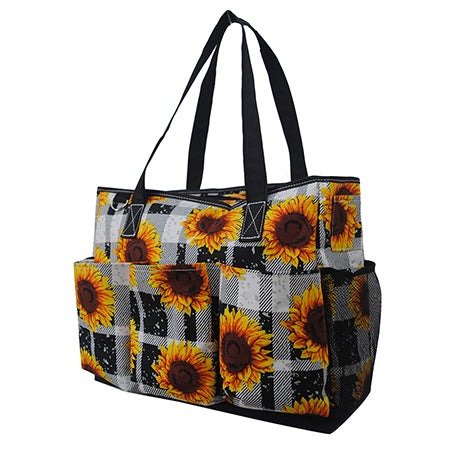 Buffalo Plaid with Sunflower NGIL Large Utility Caddy Tote