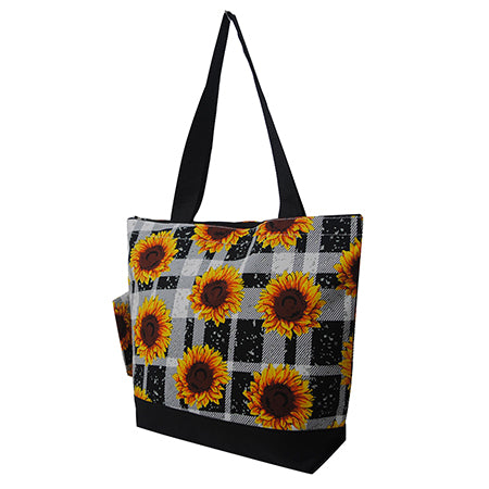 Buffalo Plaid with Sunflower NGIL Canvas Tote Bag