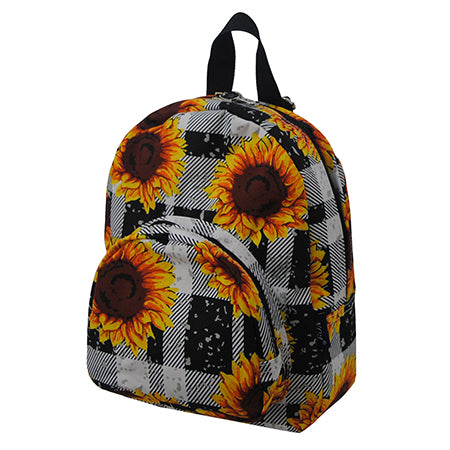 Buffalo Plaid with Sunflower NGIL Canvas Mini Backpack