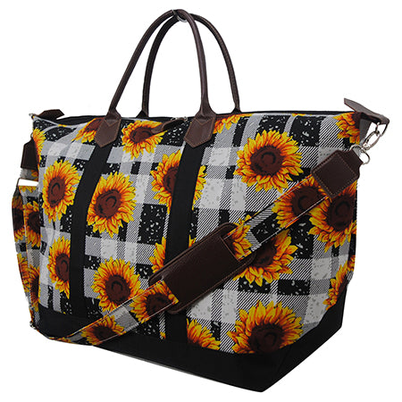 Buffalo Plaid with Sunflower NGIL Large Weekender Bag