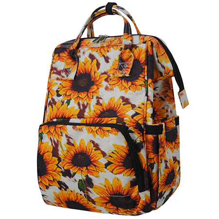 Cow Print with Sunflower NGIL Diaper Bag/Travel Backpack