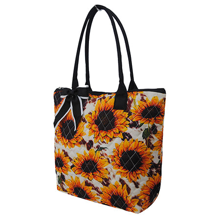 Cow Print with Sunflower NGIL Quilted Tote Bag