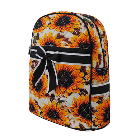 Cow Print with Sunflower NGIL Quilted Backpack