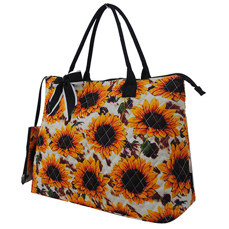 Cow Print with Sunflower NGIL Quilted Overnight Tote Bag