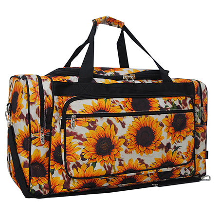 "Cow Print with Sunflower NGIL Canvas 23"" Duffle Bag"