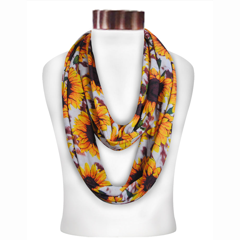 Cow Print With Sunflower Infinity Scarf