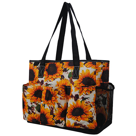 Cow Print with Sunflower NGIL Large Utility Caddy Tote