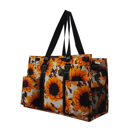 Cow Print with Sunflower NGIL Zippered Caddy Organizer Tote Bag