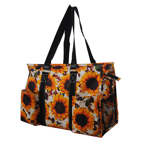 Cow Print with Sunflower NGIL Zippered Caddy Large Organizer Tote Bag