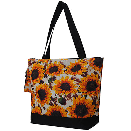 Cow Print with Sunflower NGIL Canvas Tote Bag