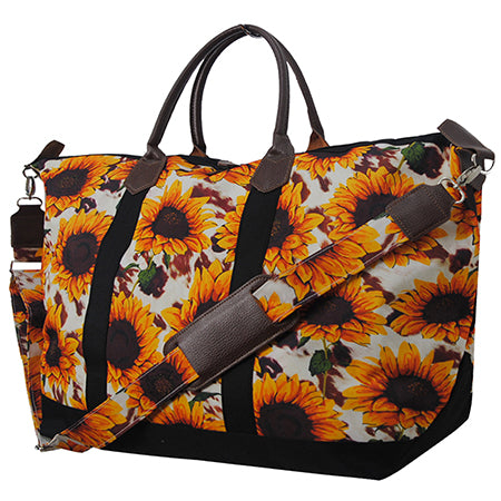 Cow Print with Sunflower NGIL Large Weekender Bag