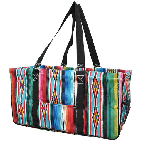Monogram gift basket, NGIL, monogram tote bag canvas, personalized basket, teacher gift for classroom, serape tote wholesale, large serape tote, serape utility tote,