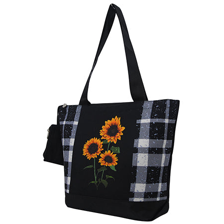 Black Buffalo Plaid with Sunflower NGIL Canvas Tote Bag