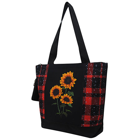 Red Buffalo Plaid with Sunflower NGIL Canvas Tote Bag