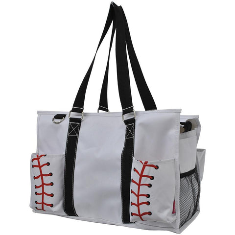 Baseball White NGIL Zippered Caddy Large Organizer Tote Bag