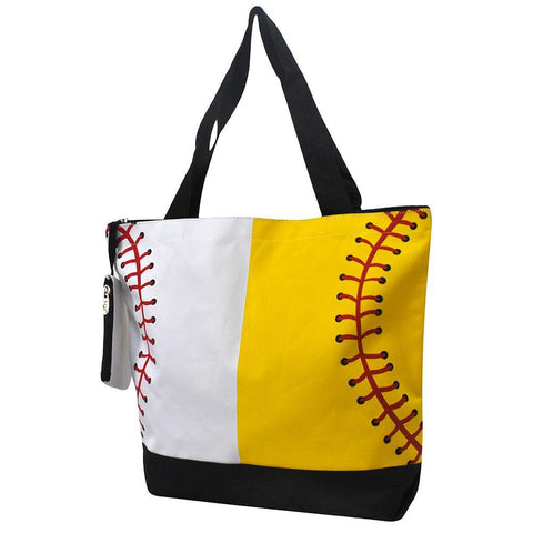 Monogrammed Zippered Tote Bag, softball canvas tote bag, softball baseball tote bag, monogram gifts for her, Monogram bags and tote, Gifts for her, monogram gifts, NGIL Brand, custom tote bags with zipper, wholesale tote bags with zipper, nice tote bags for school.