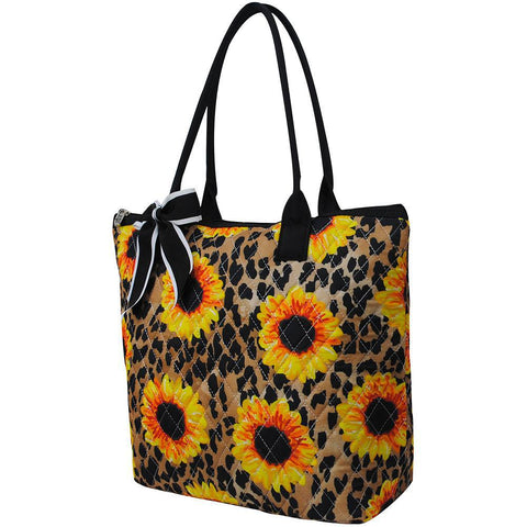 Leopard Sunflower NGIL Quilted Tote Bag