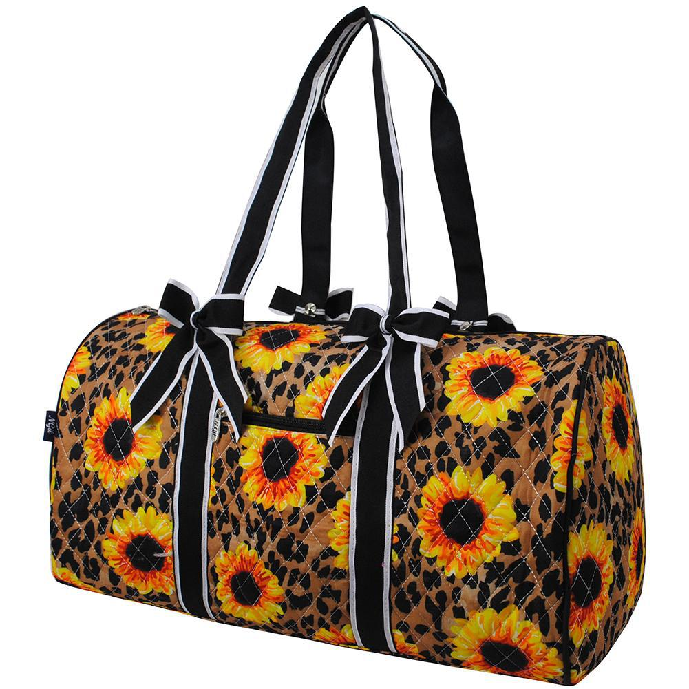 Leopard Sunflower NGIL Quilted Large Duffle Bag