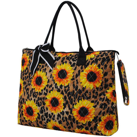 Leopard Sunflower NGIL Quilted Overnight Tote Bag