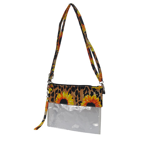 Leopard Sunflower NGIL Clear Stadium Crossbody Purse/Clutch Bag