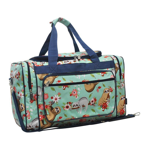 cute duffel bag, duffle bags on sale, women's duffle bag, monogram gifts bag, monogram bags for little girls, personalized duffle bags for teen girls, personalized bags for kids, personalized bags for toddlers, personalized accessories for women, sloth duffle bag, sloth print duffle, cute sloth duffle bag,
