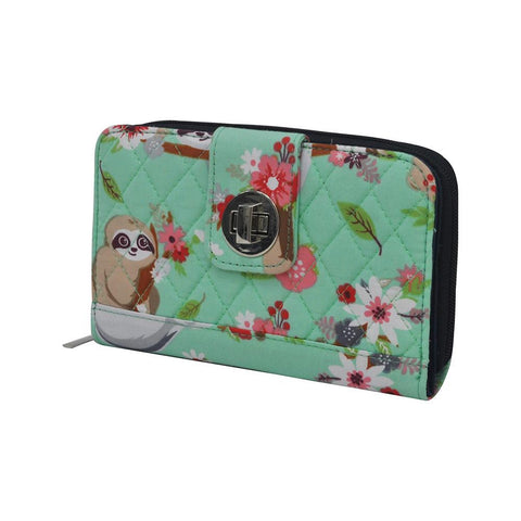 Happy Sloth NGIL Quilted Twist Lock Wallet