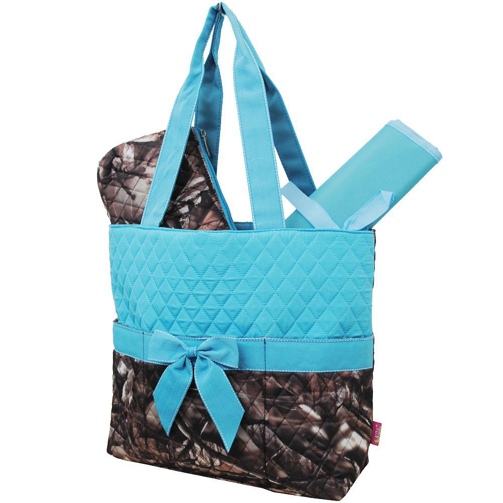 BnB Natural Camo Turquoise NGIL Quilted 3pcs Diaper Bag