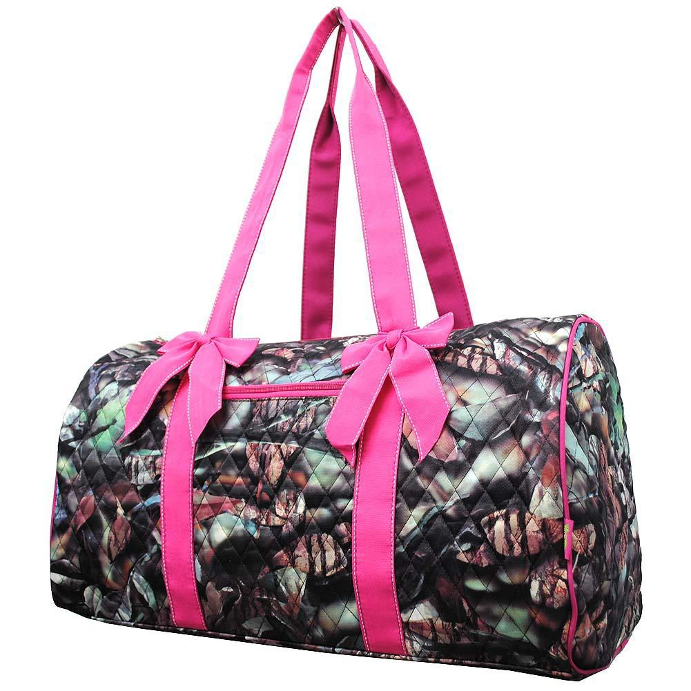 BnB Natural Camo Hot Pink NGIL Quilted Large Duffle Bag